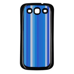 Color Stripes Blue White Pattern Samsung Galaxy S3 Back Case (Black)