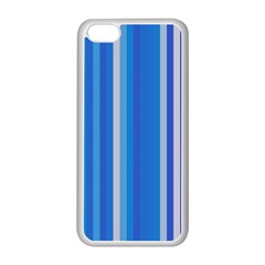 Color Stripes Blue White Pattern Apple iPhone 5C Seamless Case (White)