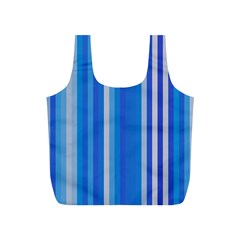 Color Stripes Blue White Pattern Full Print Recycle Bags (S)