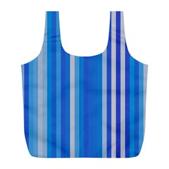 Color Stripes Blue White Pattern Full Print Recycle Bags (L)