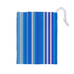 Color Stripes Blue White Pattern Drawstring Pouches (Large)