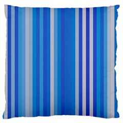 Color Stripes Blue White Pattern Large Flano Cushion Case (Two Sides)