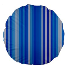 Color Stripes Blue White Pattern Large 18  Premium Flano Round Cushions