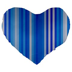 Color Stripes Blue White Pattern Large 19  Premium Flano Heart Shape Cushions