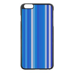 Color Stripes Blue White Pattern Apple iPhone 6 Plus/6S Plus Black Enamel Case