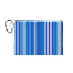 Color Stripes Blue White Pattern Canvas Cosmetic Bag (M)