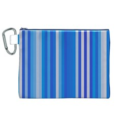 Color Stripes Blue White Pattern Canvas Cosmetic Bag (xl)