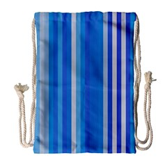 Color Stripes Blue White Pattern Drawstring Bag (Large)