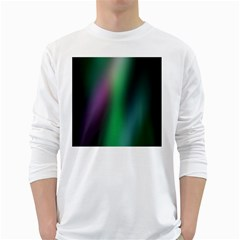 Course Gradient Color Pattern White Long Sleeve T-Shirts