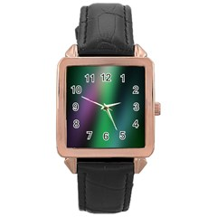 Course Gradient Color Pattern Rose Gold Leather Watch