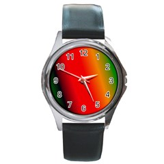 Multi Color Pattern Background Round Metal Watch