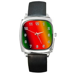 Multi Color Pattern Background Square Metal Watch
