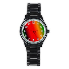 Multi Color Pattern Background Stainless Steel Round Watch
