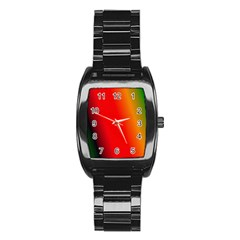 Multi Color Pattern Background Stainless Steel Barrel Watch