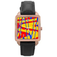 Graphic Design Graphic Design Rose Gold Leather Watch