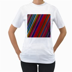 Color Stripes Pattern Women s T-Shirt (White) (Two Sided)