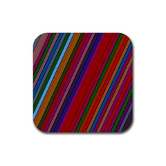 Color Stripes Pattern Rubber Square Coaster (4 pack)