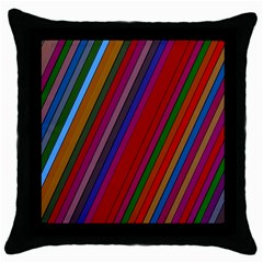 Color Stripes Pattern Throw Pillow Case (Black)