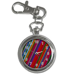 Color Stripes Pattern Key Chain Watches