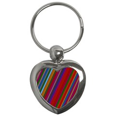 Color Stripes Pattern Key Chains (heart)