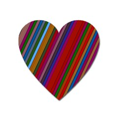 Color Stripes Pattern Heart Magnet