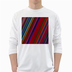 Color Stripes Pattern White Long Sleeve T-Shirts