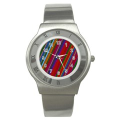 Color Stripes Pattern Stainless Steel Watch