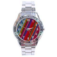 Color Stripes Pattern Stainless Steel Analogue Watch