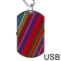 Color Stripes Pattern Dog Tag Usb Flash (one Side)