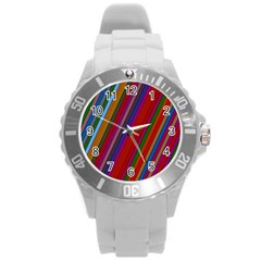 Color Stripes Pattern Round Plastic Sport Watch (L)
