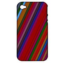 Color Stripes Pattern Apple iPhone 4/4S Hardshell Case (PC+Silicone)