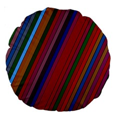 Color Stripes Pattern Large 18  Premium Round Cushions