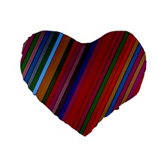 Color Stripes Pattern Standard 16  Premium Heart Shape Cushions