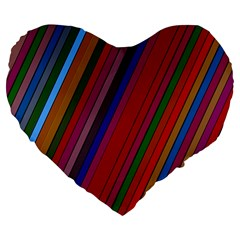 Color Stripes Pattern Large 19  Premium Heart Shape Cushions