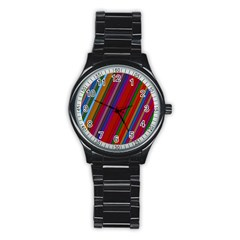 Color Stripes Pattern Stainless Steel Round Watch
