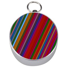 Color Stripes Pattern Silver Compasses