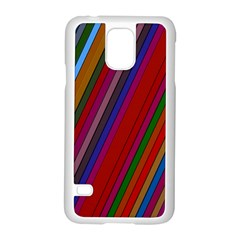 Color Stripes Pattern Samsung Galaxy S5 Case (White)