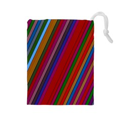 Color Stripes Pattern Drawstring Pouches (Large)