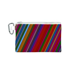 Color Stripes Pattern Canvas Cosmetic Bag (S)