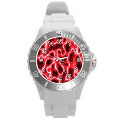 Pattern Background Abstract Round Plastic Sport Watch (L)