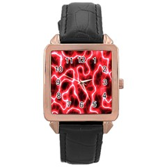 Pattern Background Abstract Rose Gold Leather Watch