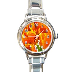 Mosaic Glass Colorful Color Round Italian Charm Watch