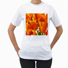 Mosaic Glass Colorful Color Women s T-Shirt (White) (Two Sided)
