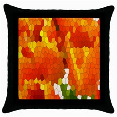 Mosaic Glass Colorful Color Throw Pillow Case (Black)