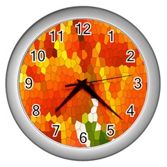 Mosaic Glass Colorful Color Wall Clocks (silver)