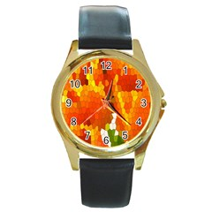 Mosaic Glass Colorful Color Round Gold Metal Watch