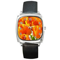 Mosaic Glass Colorful Color Square Metal Watch