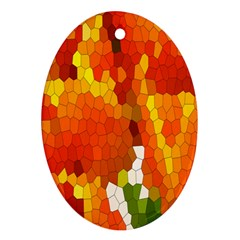 Mosaic Glass Colorful Color Oval Ornament (two Sides)