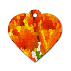 Mosaic Glass Colorful Color Dog Tag Heart (One Side)