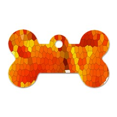 Mosaic Glass Colorful Color Dog Tag Bone (two Sides)